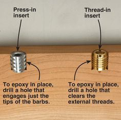 Tips on using threaded inserts