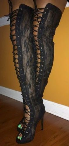 #Sexy #Lace Thigh High #Boots . #shoes #heels #fashion