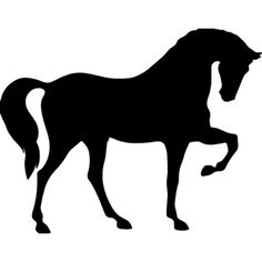 Cavalo de pé em três patas vulto negro de vista lateral