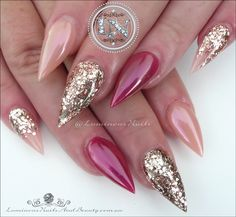 Sculptured Acrylic with Young Nails Cover Pink & Pop Bright Collection Rum, Glitter Heaven Australia Pink Champagne Glitter Mix, Magic Mauve FX Chrome. Love Nails, Pink Nails, How To Do Nails, Glitter Nails, Pink Nail Designs, Pretty Nail Designs, Nails Design, Pretty Nail Colors, Pretty Nails