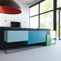 4-Modul Sideboard - Blau/Grün