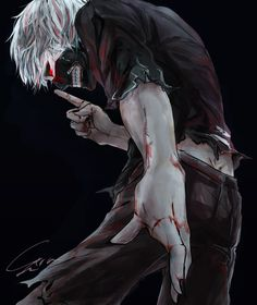 Tokyo Kushu, Kaneki Ken, Black Nails, Dark Background, Black Background
