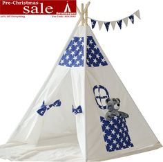 New Listing! Starry Sky Teepee with Poles,Flags and Handbag, Kids Teepee, Play Tent, Child teepee,Playhouse, Kids Room Decor