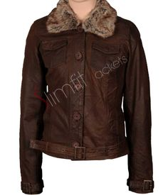 Women's Brown Stylish Waxed Fur Collar Leather Jacket. #Fashion #Jacket #outfit #Women #Menswear #Coat #Kids leatherjacket - For more queries visit: Slimfitjackets.com