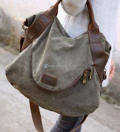 Large Capacity Shoulder Bag Leather Canvas Bag (7)