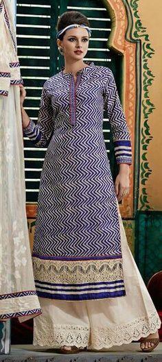 432889: Blue color family unstitched Cotton Salwar Kameez, Printed Salwar Kameez .