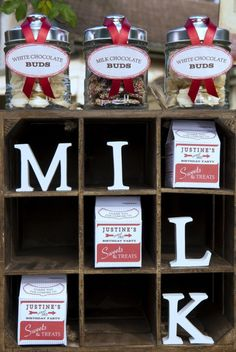 "Printable milk carton favor box ~ display favor boxes in a crate with the word ""Milk"" spelled out...cute!"