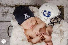 Photography by Stacey Moss | Logan Utah Newborn Photographer | Football Newborn Session | Newborn Photography Prop | Utah State University Photo Session