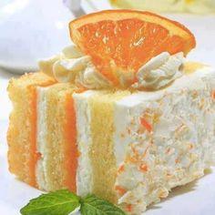 Orange Dreamsicle Cake:  1 Pkg Yellow Cake Mix , 2 Pkgs Orange Jello, 1 Pkg Vanilla Instant Pudding, 1 Cup 2% Milk, 2 large eggs, 2 Tsp Vanilla & 1 Tub Cool Whip.