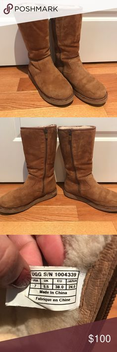 Ugg Classic Tall boots with Zipper Authentic Ugg Classic Tall boots with zipper for easy on/off and to maintain shape. Well cared for, in excellent condition. UGG Shoes Winter & Rain Boots