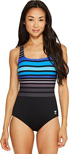 b36b25ce80168 TYR TSPQN7A Womens Ombre Stripe Aqua Controlfit Swimsuit BlackBlue 12    Click for Special Deals Women