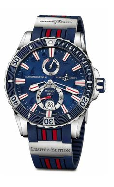 """Ulysse Nardin Marine Diver Monaco Limited Edition for 2014 is strongly inspired by marine world. It features Ulysse Nardin's anchor emblem at 2 o'clock, set against the deep blue dial, with a sailing boat-like motif. The bezel is decorated with the traditional wave pattern, while the medallion on the monoblock case-back reveals an engraving of a boat along with the inscriptions """"Conquer the ocean"""" and """"Monaco."""""""