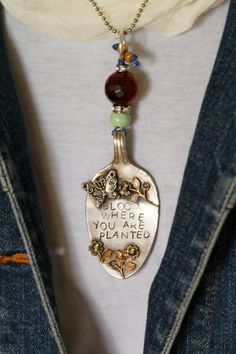 Sterling plated antique spoon pendant by lisabetzoriginals on Etsy, $59.00