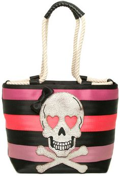 Harveys Seatbelt Bags Tough Love Rope Tote. This handbag features a skull design.