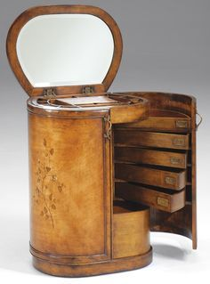 Vanity/ chest drawer, oval & multifunctional (mobile table plate/ mirror), Art Déco or later.