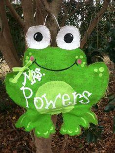 Frog Burlap Door Hanger by SeasonalTraditions on Etsy, $28.00