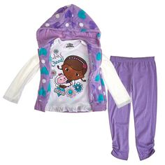 Doc McStuffin Toddler Girls Hooded Vest Shirt & Leggings 3 Piece Set (3T). Genuine Licensed Disney Junior Merchandise. Adorable 3 piece outfit featuring Doc McStuffins Pet Vet. Hooded Fleece Vest with Purple and Turquoise Hearts Plus Long Sleeve Top and Matching Purple Leggings. Shirt & Leggings are Cotton/Polyester Blend. Size 3T fits 29-33 Lbs.