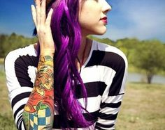 berry purple! love the tats too