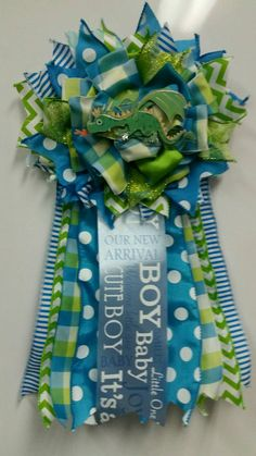 Custom Baby Shower Corsage Its A Boy Blue Green Castle Dragon Knight Theme Stripes Ribbons Hospital Door Nursery Decor Mom To Be MiniMum