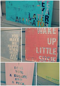 Inexpensive DIY wall art: Thrift store art + vinyl letters + coat of paint, then remove vinyl letters. Cool idea. (No link here-- pin only goes to photo.) Could use fav song lyrics?!