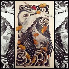 tattoos in japanese prints Japanese Tattoo Women, Japanese Tattoo Art, Japanese Tattoo Designs, Japanese Sleeve Tattoos, Japanese Painting, Japanese Drawings, Japanese Prints, Crane Tattoo, Asian Tattoos
