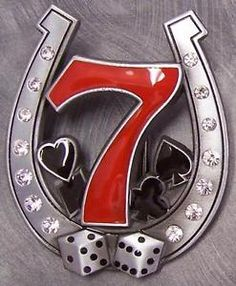 Pewter-Belt-Buckle-Gamble-Lucky-7-Horseshoe-Dice-NEW