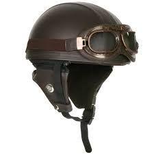 DCPRICE Motorcycle Goggles Vintage Style Retro Brown HALF Helmet