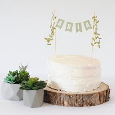 Personalized Greenery Cake Topper - Leaf Birthday Cake Topper - Cake Topper for Succulent Theme Party - Boho Floral Name Cake Topper Simple 1st Birthday Party Boy, White Birthday Cakes, Rustic Birthday, 13th Birthday Parties, 1st Boy Birthday, Birthday Cake Toppers, Birthday Ideas, Happy Birthday, Green Cake