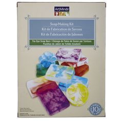 ArtMinds™ Soap-Making Kit, Tie-Dye Soap Bars. Learn to make bright, tie-dye patterned soap. This easy kit has everything you need to make 10 bars of soap. Make some for yourself or give as gifts!