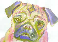 Pug print Pink Lime and lilac Pug Portrait from Original Artist Signed… #art… visit oscarjetson.com to see cool dog art oscarjetson.com