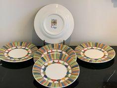 GIEN France Taffetas  Multicolor Tassels Design Bread Plate Set of 5 #Gien