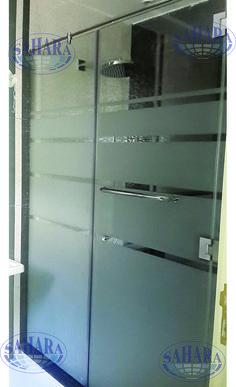 Shower Enclosure, with sandblasted stripes design.
