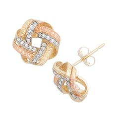 Gioelli 10k Gold .20ct TDW Diamond Round Cut Love Knot Stud Earrings