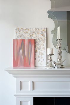 Stunning Acrylic Paintings - same as blue, on same mantle but different color dots/swirls with brushed canvas in front.