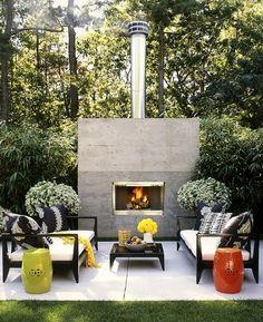 Concrete outdoor fireplace #yard #backyard #patio