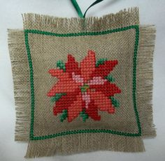 Poinsettia Cross Stitched Christmas Ornament / by luvinstitchin4u, $15.99