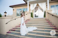 Here comes the bride.....Our steps leading from and to The Grand Acadia Room  will provide a beautiful photo for you to cherish forever~ The Perfect Pair Amphora & Breaux Vineyards  Open House Photo By Evelyn Alas Photography