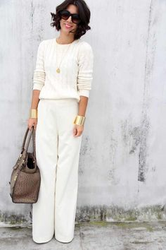 Awesome 45 Inspiring Winter White Pants Outfit Ideas. More at https://wear4trend.com/2018/01/12/45-inspiring-winter-white-pants-outfit-ideas/