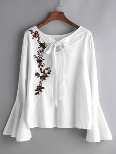 White Flower Embroidered Bell Sleeve Bow Tie Blouse