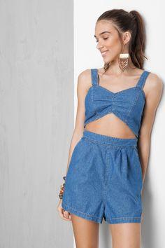 macaquinho jeans triângulo frente | Dress to