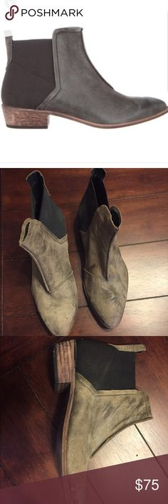 Free People booties size 8.5 Green suede. Normal wear. Please ask for additional pics Free People Shoes Ankle Boots & Booties