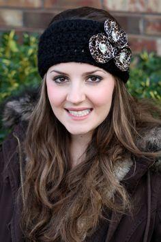 Black and leopard flower crochet ear warmer/ headband by brooke492, $15.00