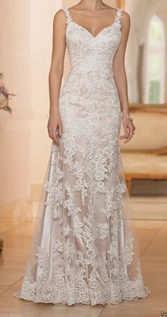 Sexy Backless Lace Applique Mermaid Wedding Dress Spaghetti Straps Bridal Gown