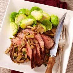 Spice-Rubbed Steak with Sautéed Wild Mushrooms Recipe - - SUBSTITUTE  the brown sugar for your favorite artificial sweetner brown sugar substitute.
