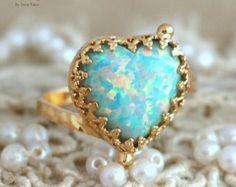 Opal Ring, Mint Opal gold Ring, Dainty Heart Opal Ring, Opal Jewelry,Gold Opal Ring, Mint Ring, Gift for woman, Opal dainty Heart Ring.