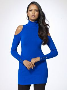 OKC Thunder Blue cold-shoulder tunic length turtleneck with ribbed collar and faux snap cuffs from Cache'.