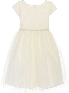 Amazon.com: Big Girls' Embroidered Cap Sleeve Communion Flowers Girls Dresses Off White 10: Clothing