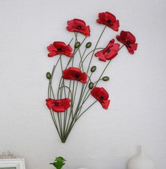 "Cheap craft china, Buy Quality decorative metal craft directly from China metal arts and crafts Suppliers:    Titel:Red Poppy Flower               Dimensions:15.75""   W    x 25.60""   H(40*65cm)"