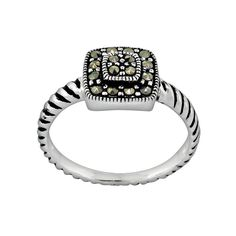 Sterling Silver Marcasite Ring, Women's, Size: 9, Black