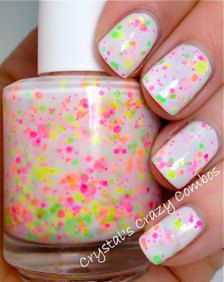 Speckles of neon on a white canvas for your nails! I like neon. Reminds me of sprinkle cake.